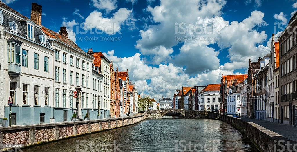 Bruges medieval houses and canal, Belgium stock photo