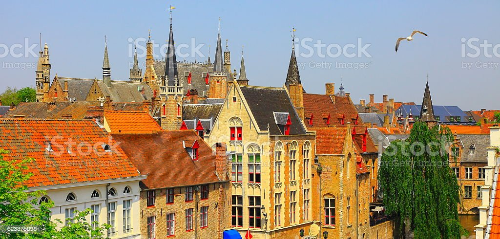 Bruges old town medieval towers, dove flying above, Belgium, Benelux stock photo