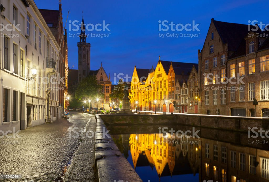 Bruges Poortersloge And Toll House At Night stock photo