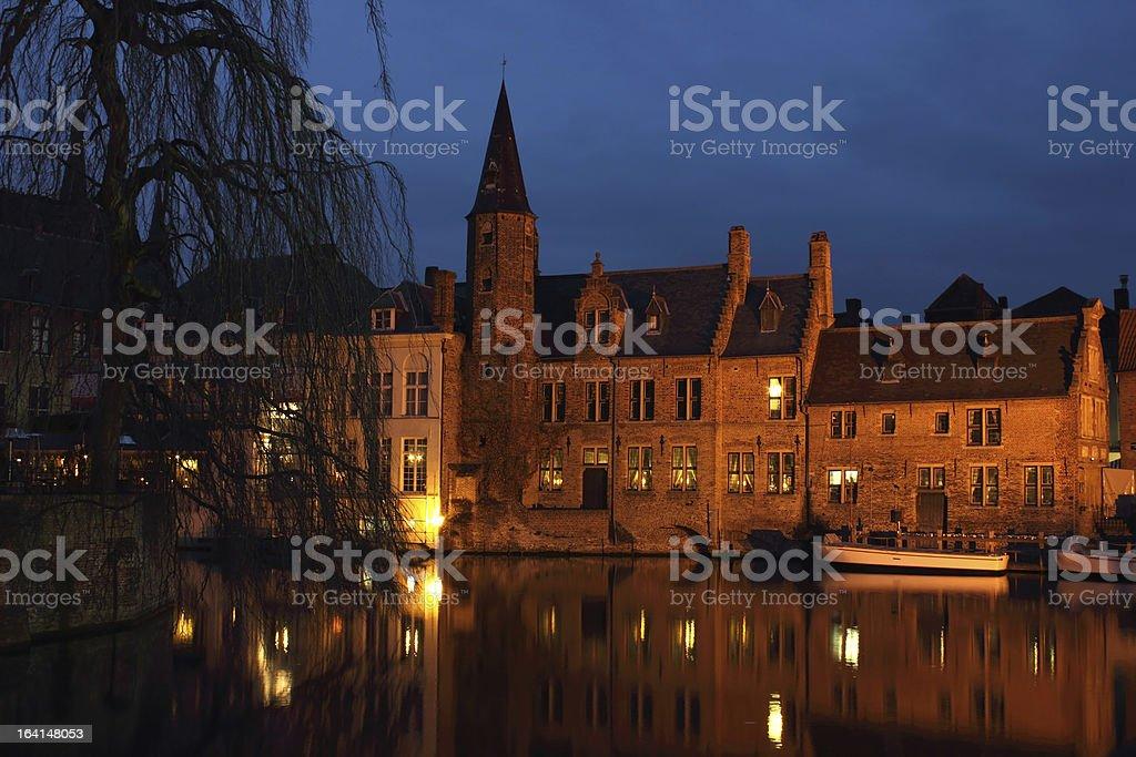 Bruges Rozenhoedkaai Night Scene royalty-free stock photo