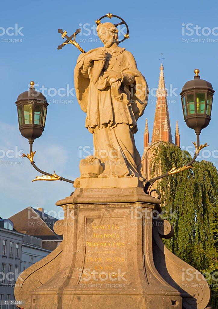 Bruges - st. John the Nepomuk statue on bridge stock photo