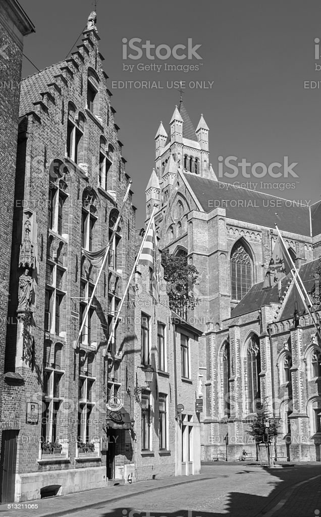 Bruges - St. Salvator's Cathedral and the old gothic house stock photo
