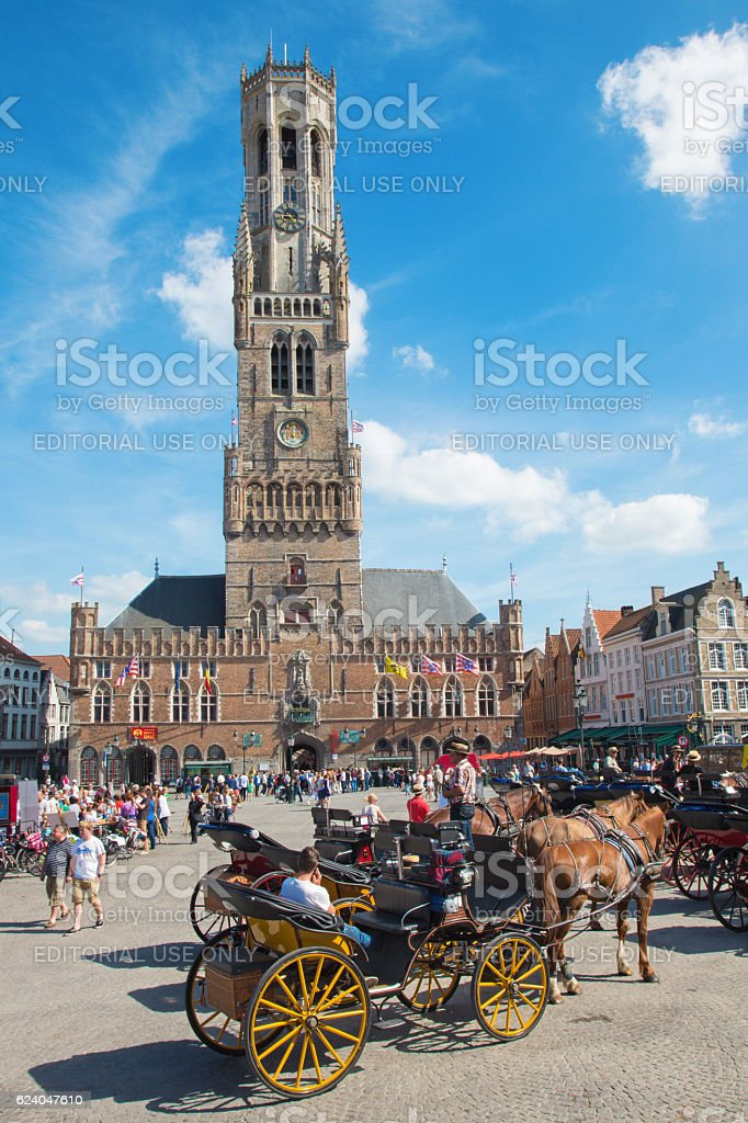 Bruges - The Carriage on the Grote Markt stock photo