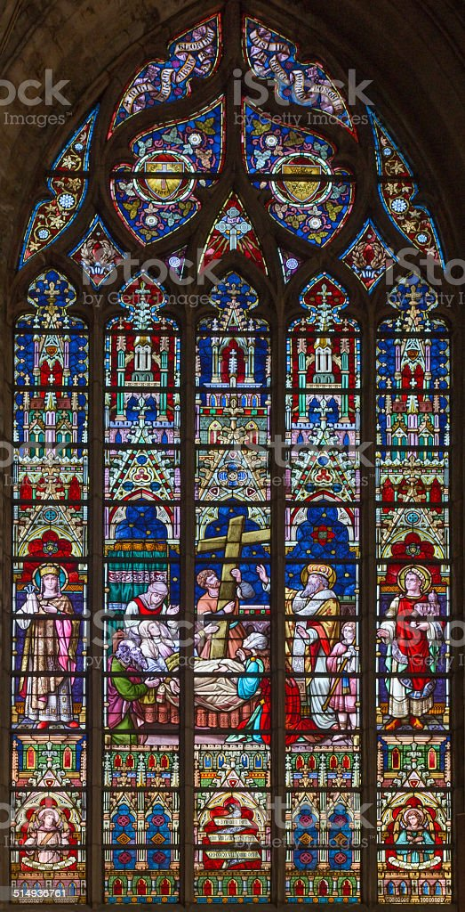 Bruges - The death of st. Helen on windowpane stock photo