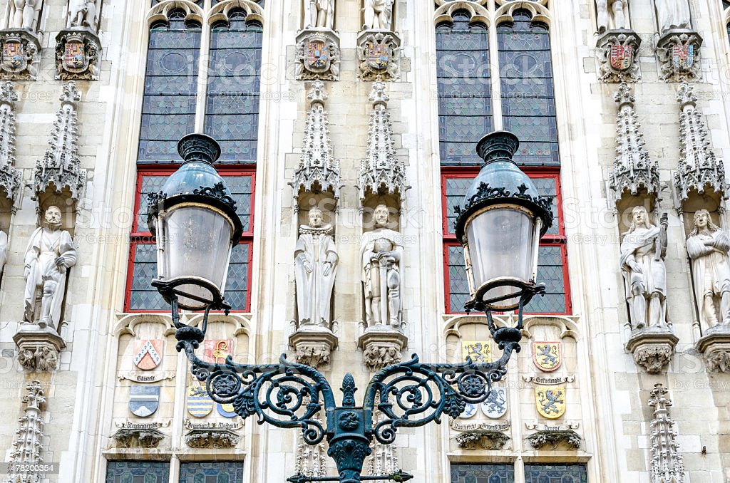 Bruges town hall detail stock photo