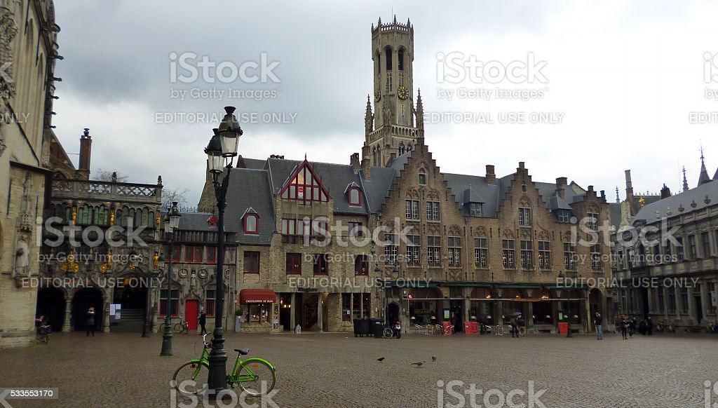 Bruges Town Hall Square stock photo