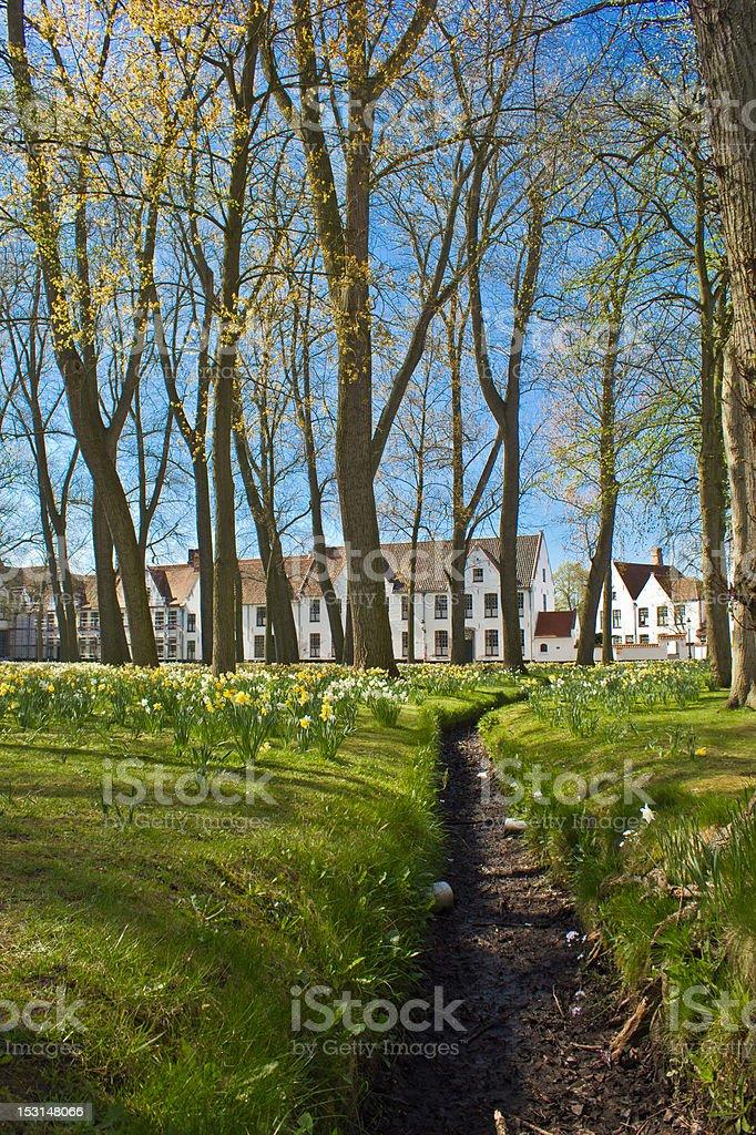 Brugge begijnhof stock photo
