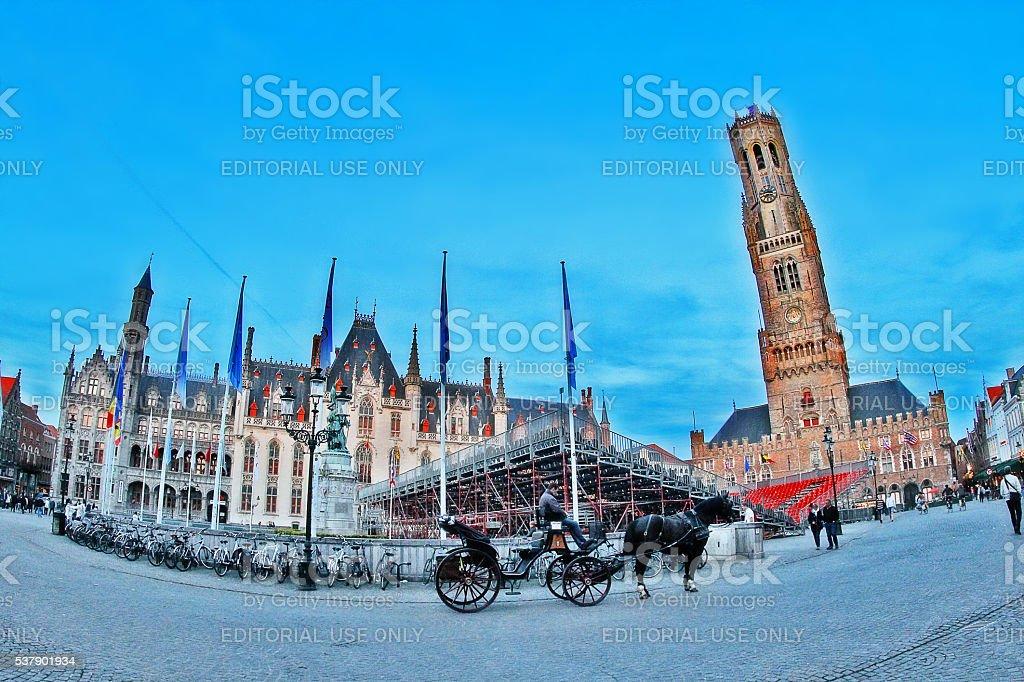 Brugge (Bruges), Belgium - May 05, 2016 - Grote Markt square stock photo