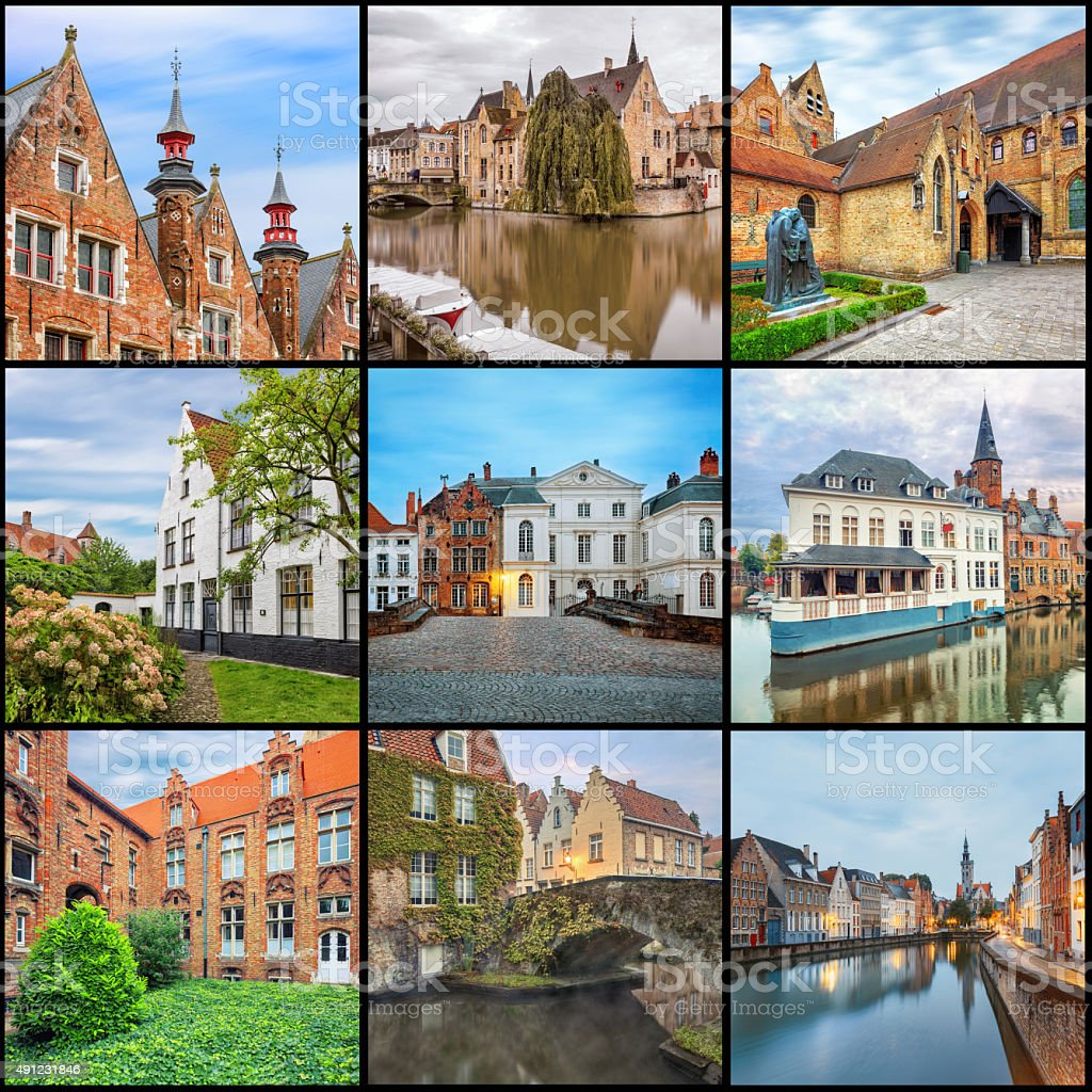 Brugge canals at sunrise stock photo