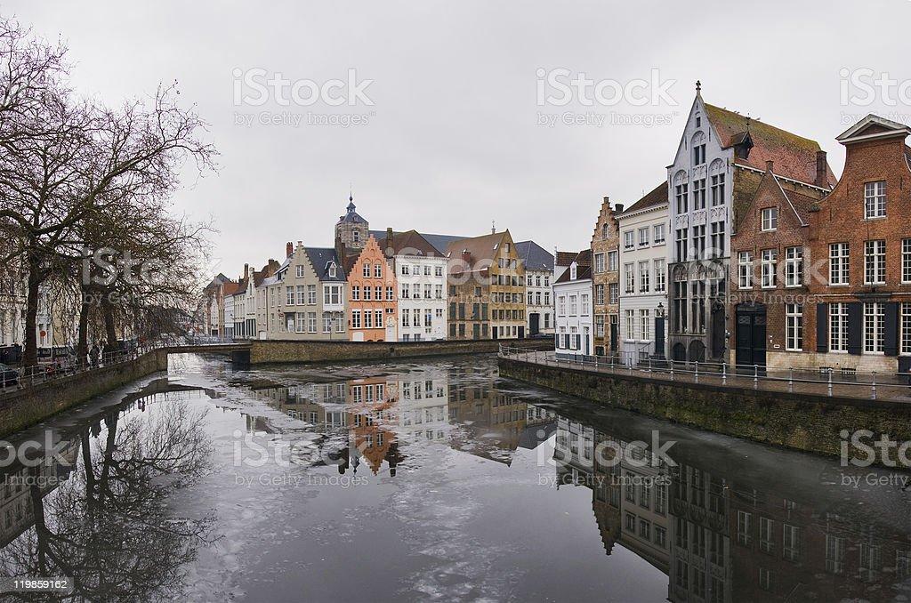 Brugge in winter stock photo
