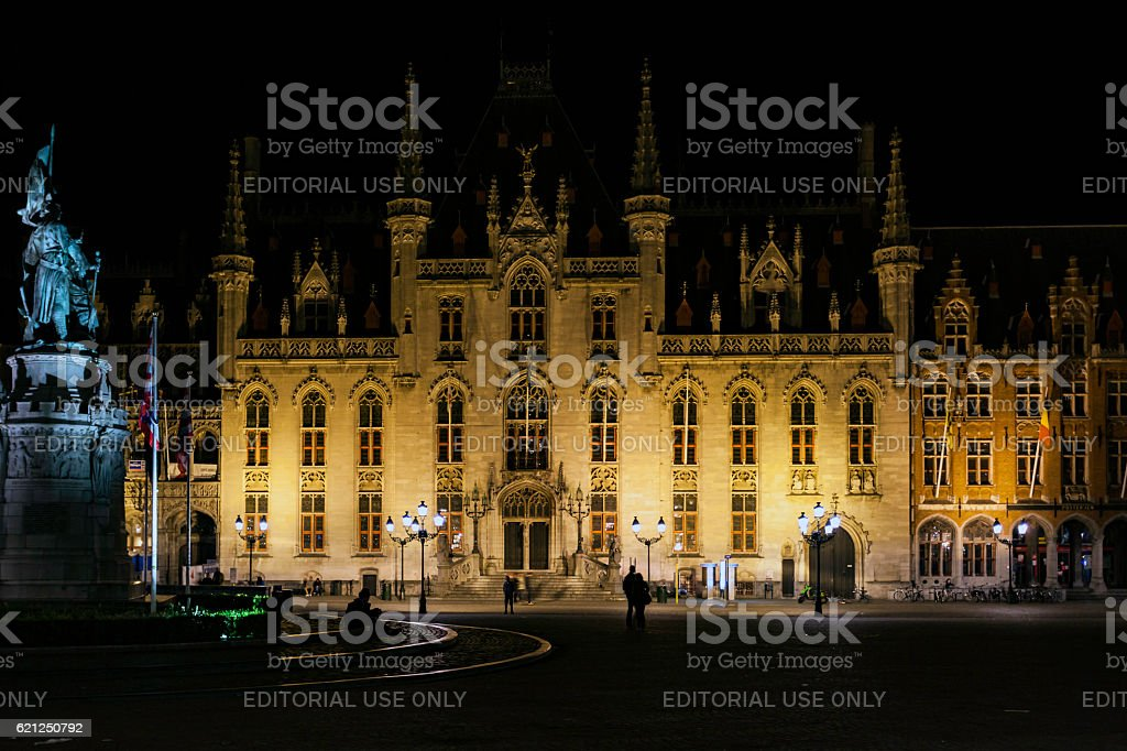 Brugge Provinciaal Hof famous medieval building at night stock photo