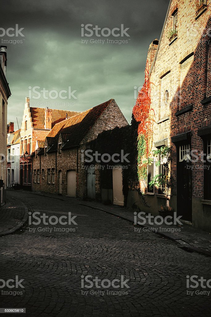 Brugge streets stock photo