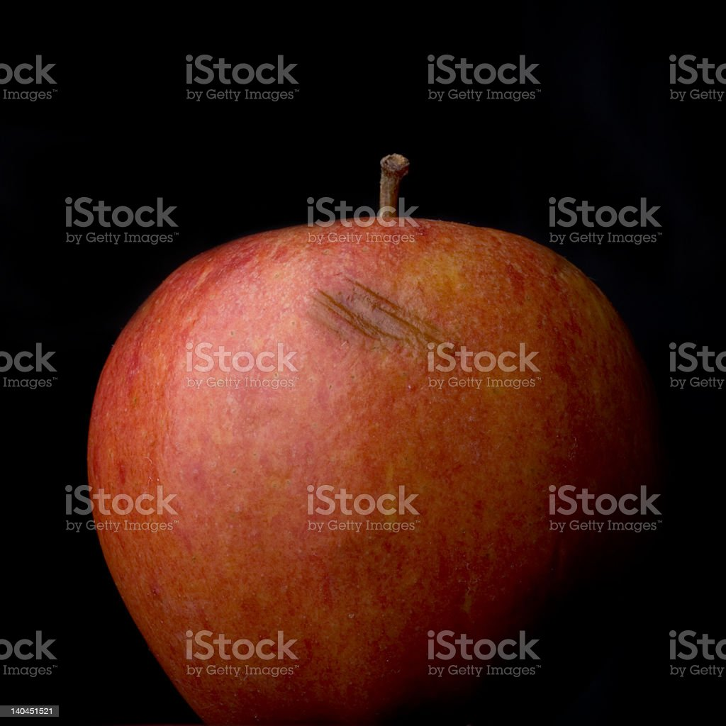Bruised Apple on Black stock photo