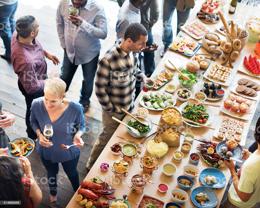 Brunch Choice Crowd Dining Food Options Eating Concept stock photo