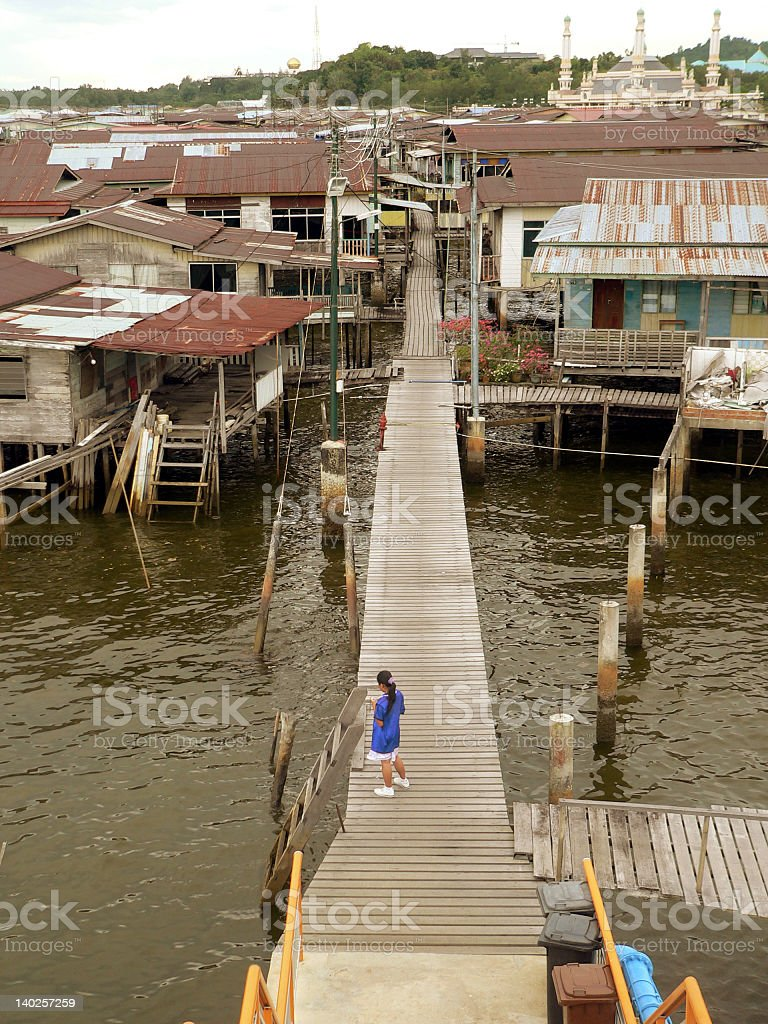 Brunei. Downtown Bandar. Kampung Ayer typical homes royalty-free stock photo