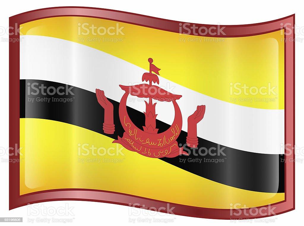 Brunei Flag icon, isolated on white background. royalty-free stock photo