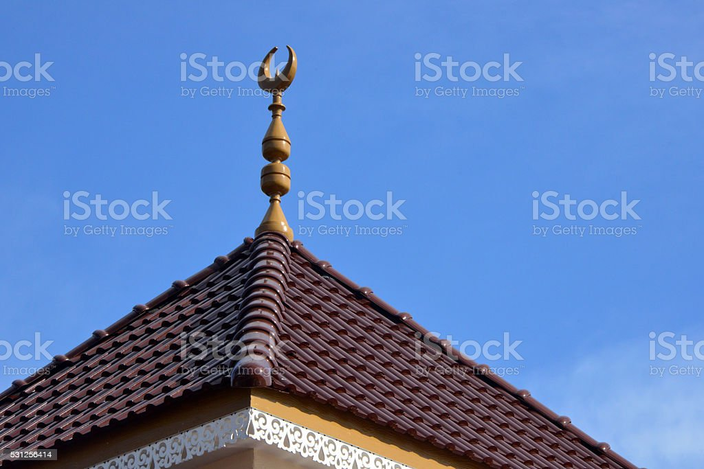 Brunei: Islamic crescent and sky, country under shariah law stock photo