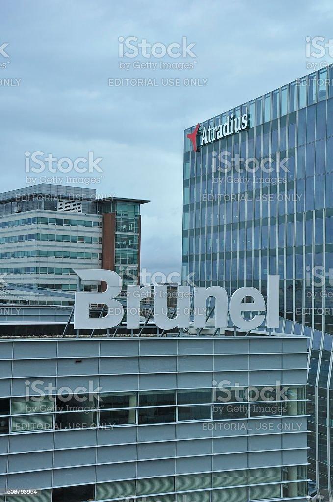 Brunel and Atradius Buildings stock photo