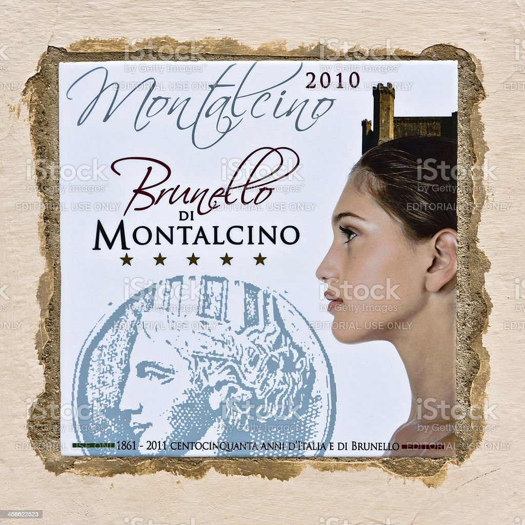 Brunello of Montalcino Wine 2010-2011, 5 Stars Grape Harvest stock photo