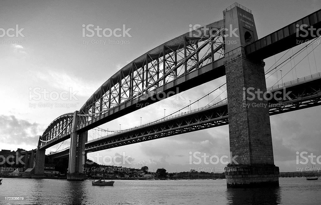 Brunels Rail Bridge over the Tamar stock photo