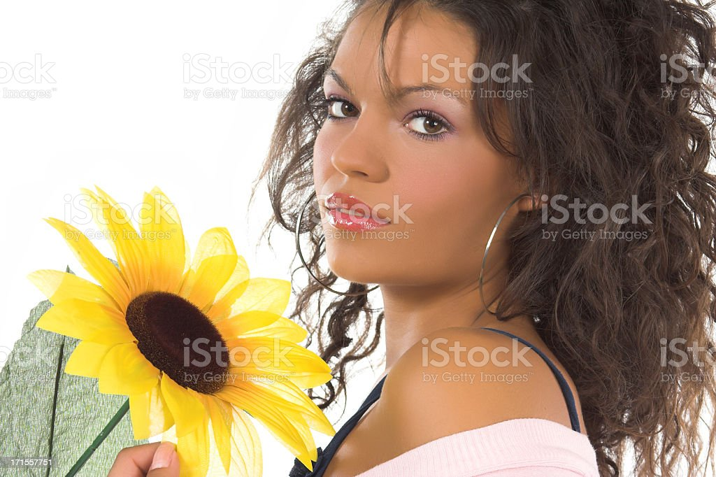 Brunette and sunflower royalty-free stock photo
