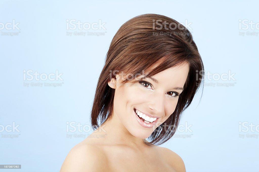 Brunette Beauty on Blue royalty-free stock photo