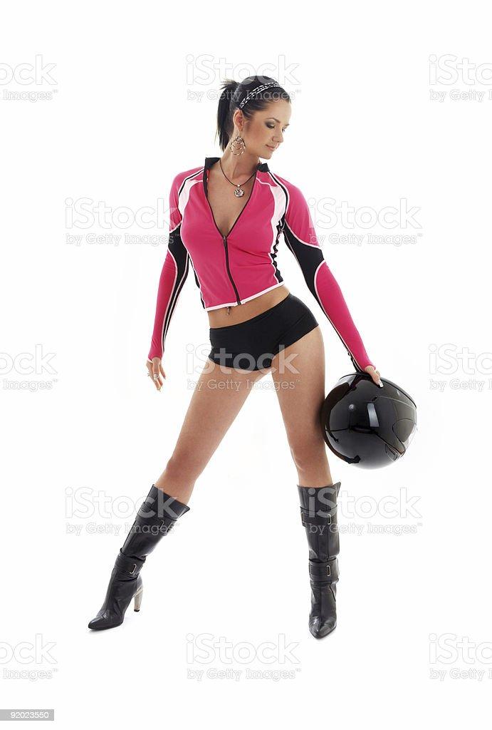 brunette biker girl with black helmet royalty-free stock photo