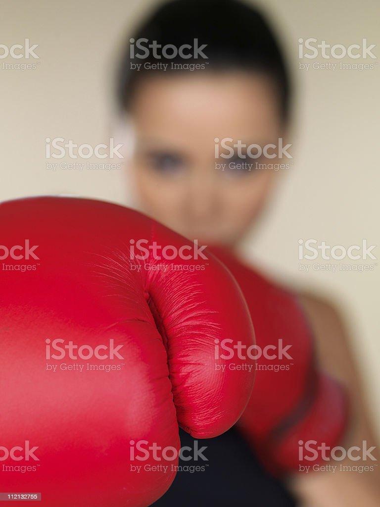 Brunette boxing girl royalty-free stock photo