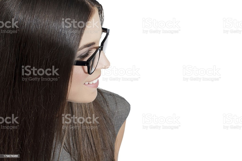 Brunette businesswoman in glasses, empty space royalty-free stock photo