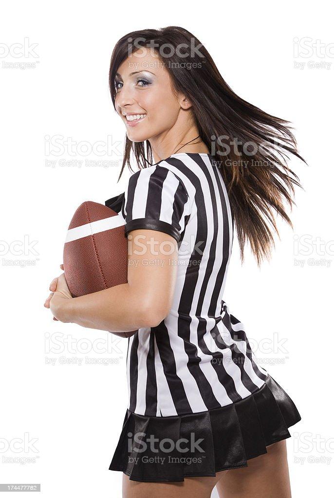Brunette Female Sports Fan stock photo