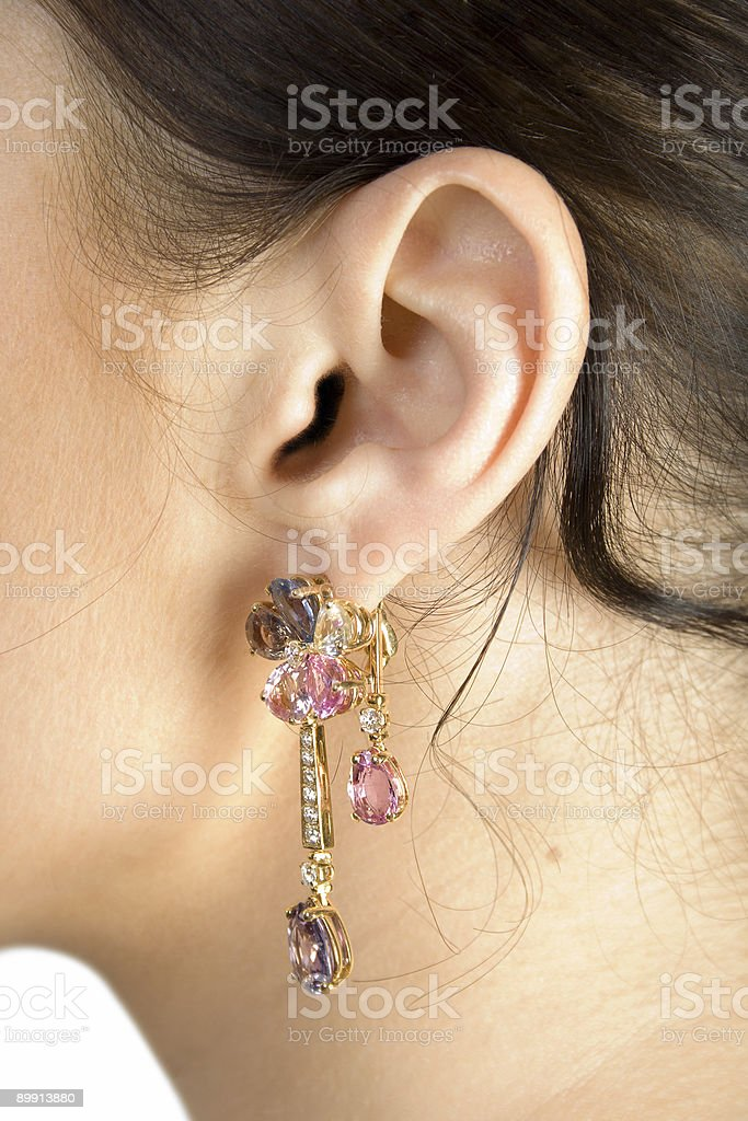 Brunette girl ear royalty-free stock photo