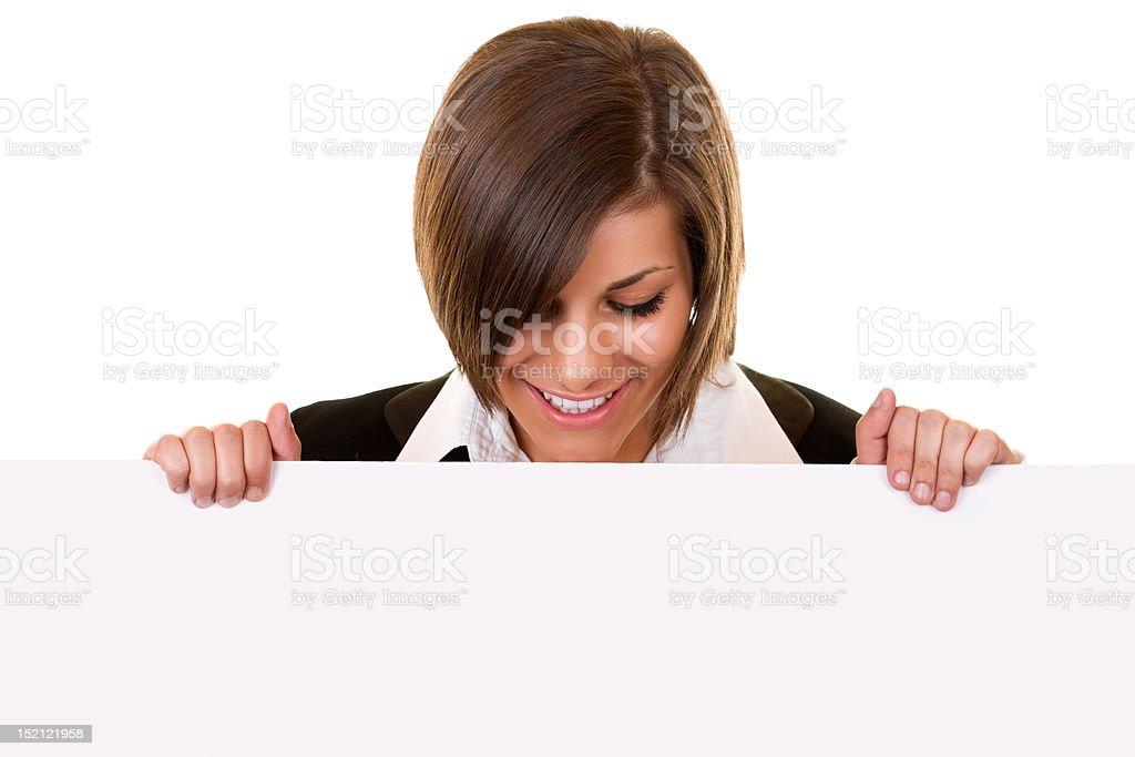 brunette girl holding big board royalty-free stock photo