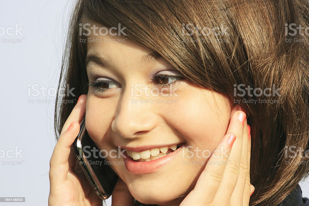 Brunette Girl on the Phone royalty-free stock photo