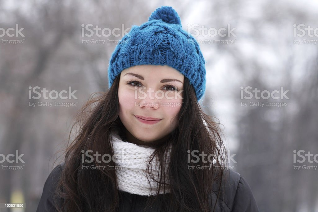 Brunette girl outdoors in winter royalty-free stock photo