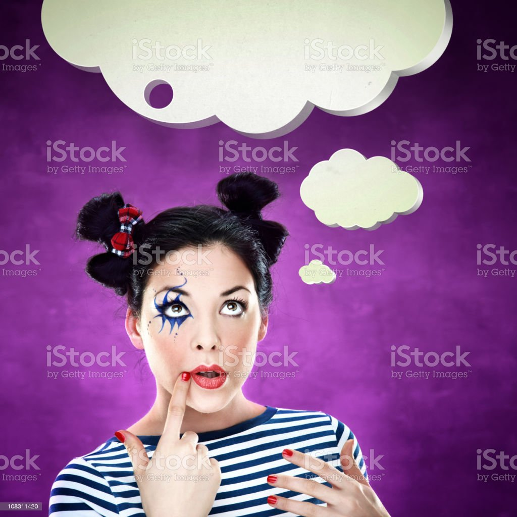 Brunette girl with cloud of thoughts above her head royalty-free stock photo