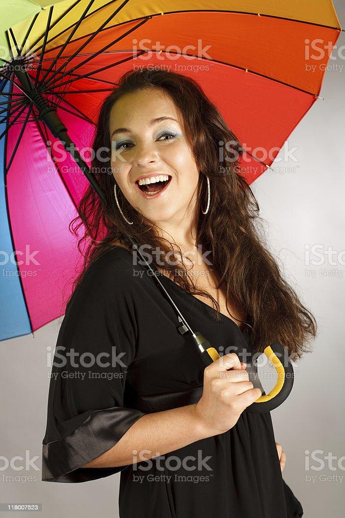 brunette girl with umbrella stock photo