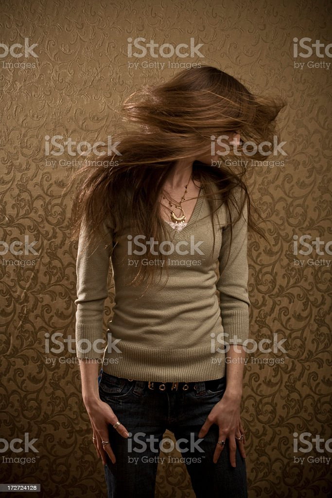 Brunette Hair Whip stock photo