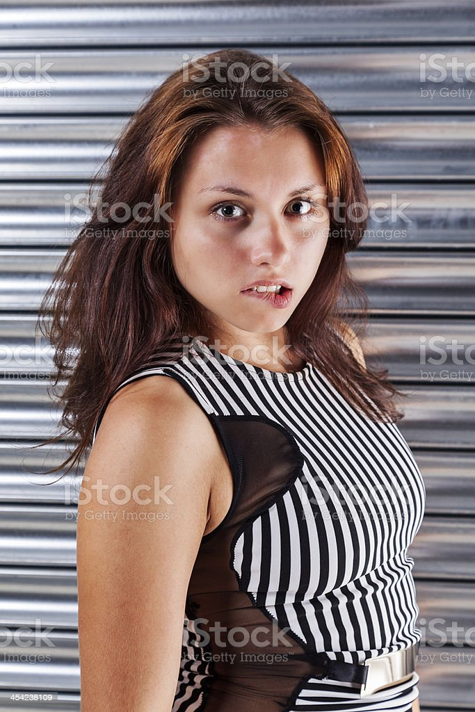 Brunette In A Striped Dress royalty-free stock photo