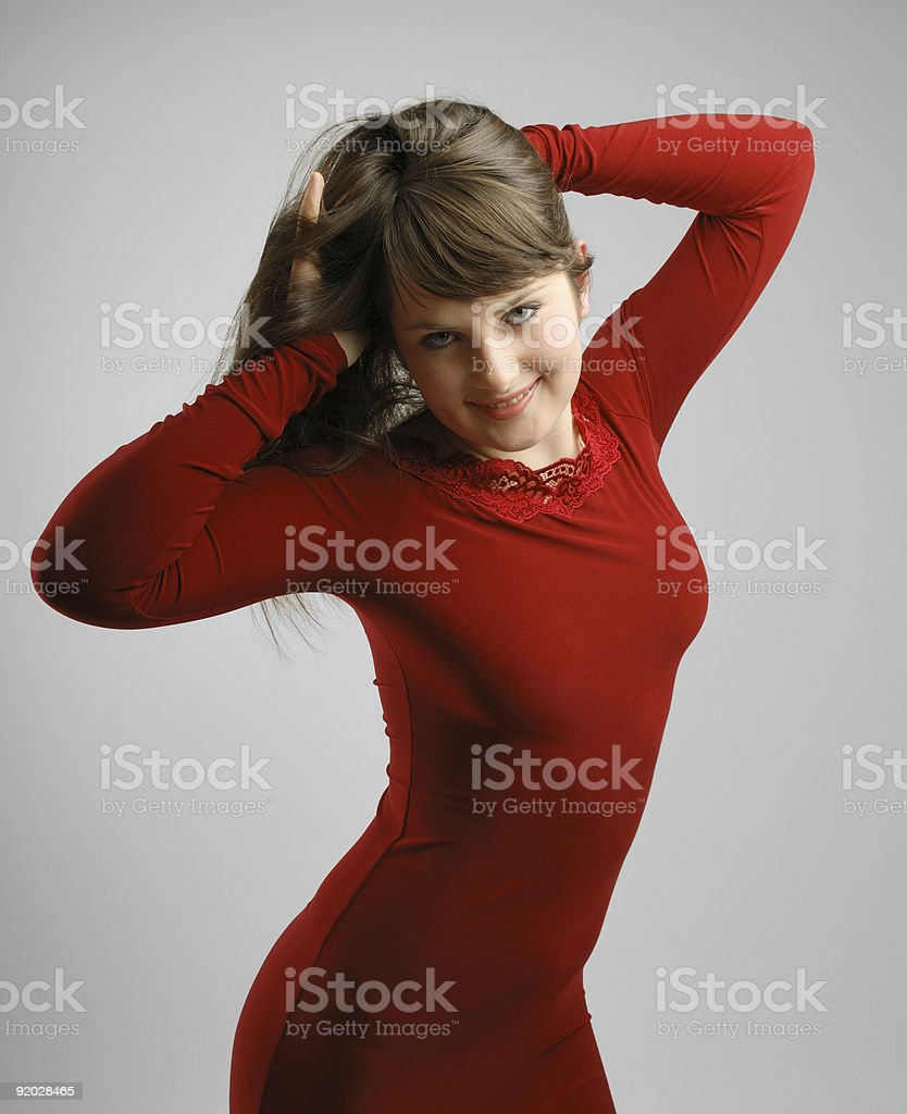 Brunette in vinous dishevelling hair stock photo