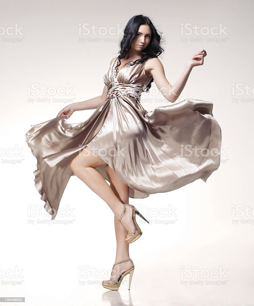 brunette in waving dress royalty-free stock photo