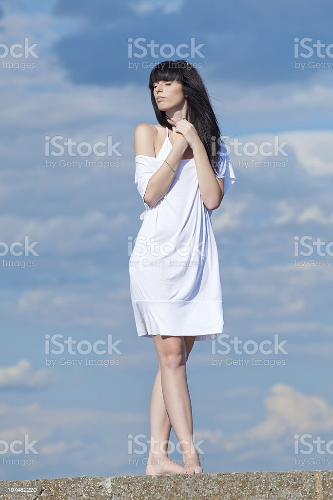 Brunette in white royalty-free stock photo