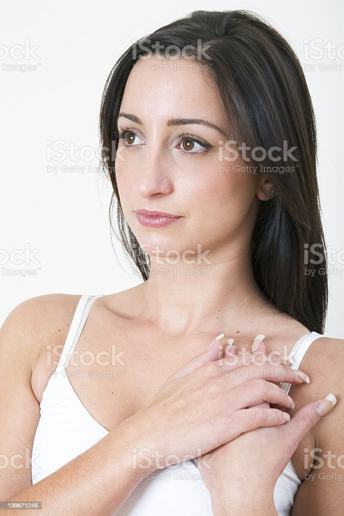 Brunette in white top royalty-free stock photo