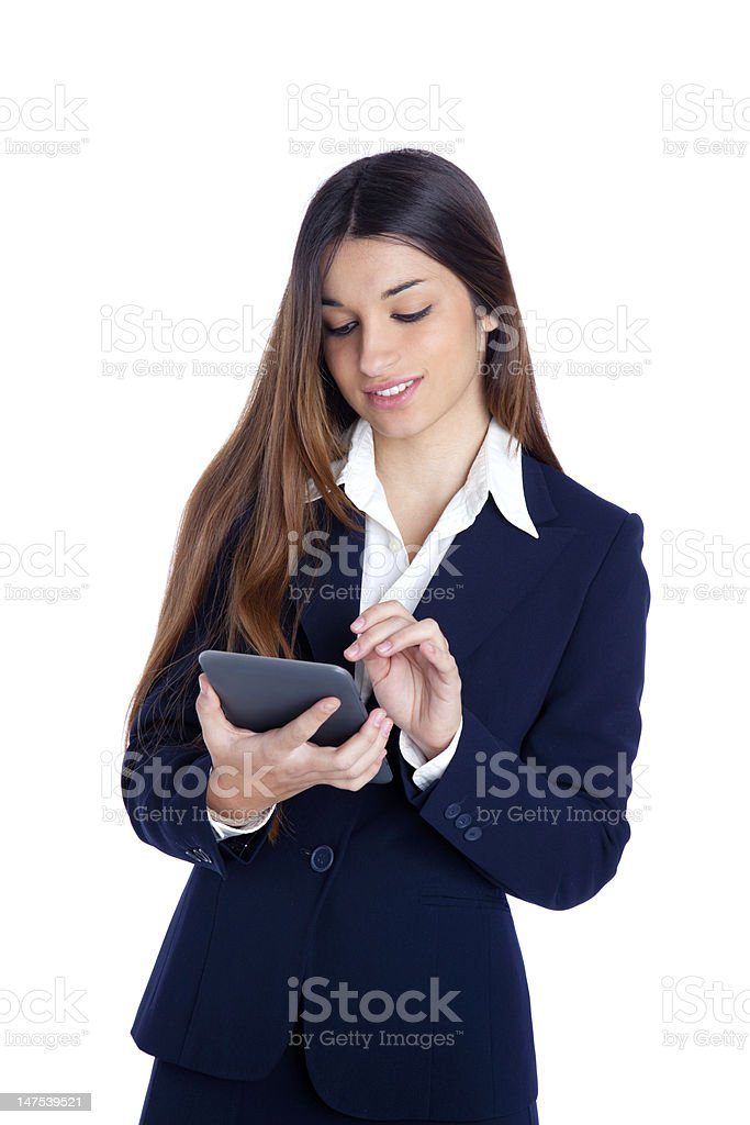 brunette indian business woman reading ebook tablet pc royalty-free stock photo
