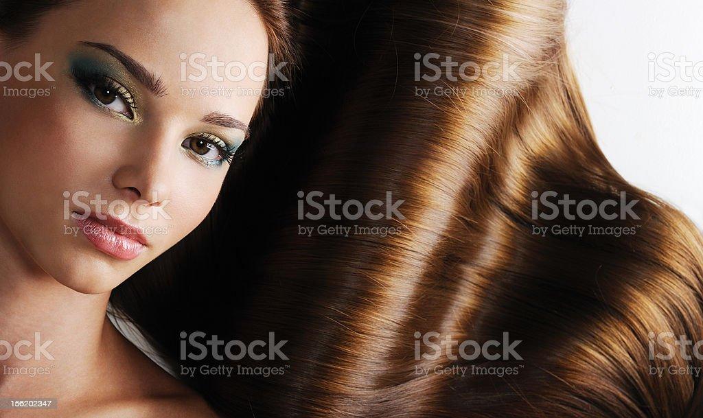 brunette long healthy female hair stock photo