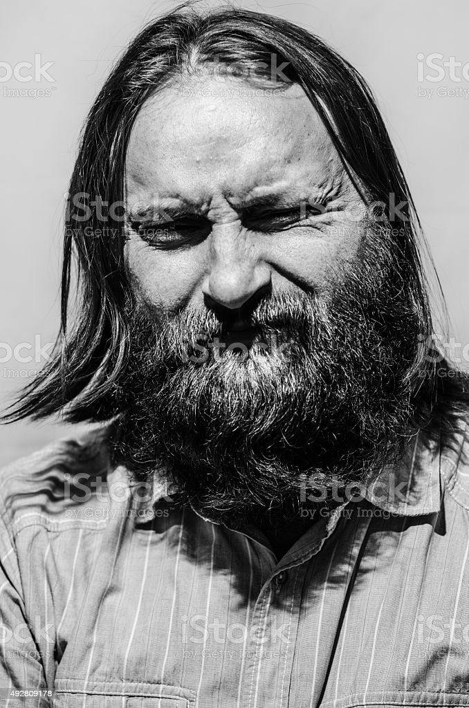 brunette man portrait black and white isolated stock photo