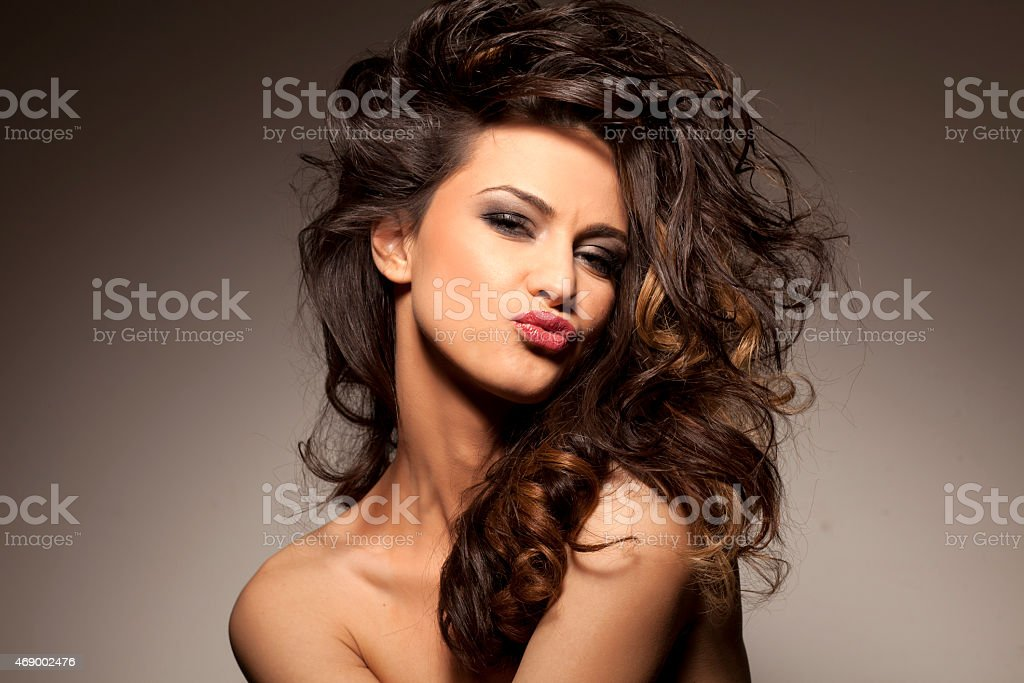 brunette posing stock photo