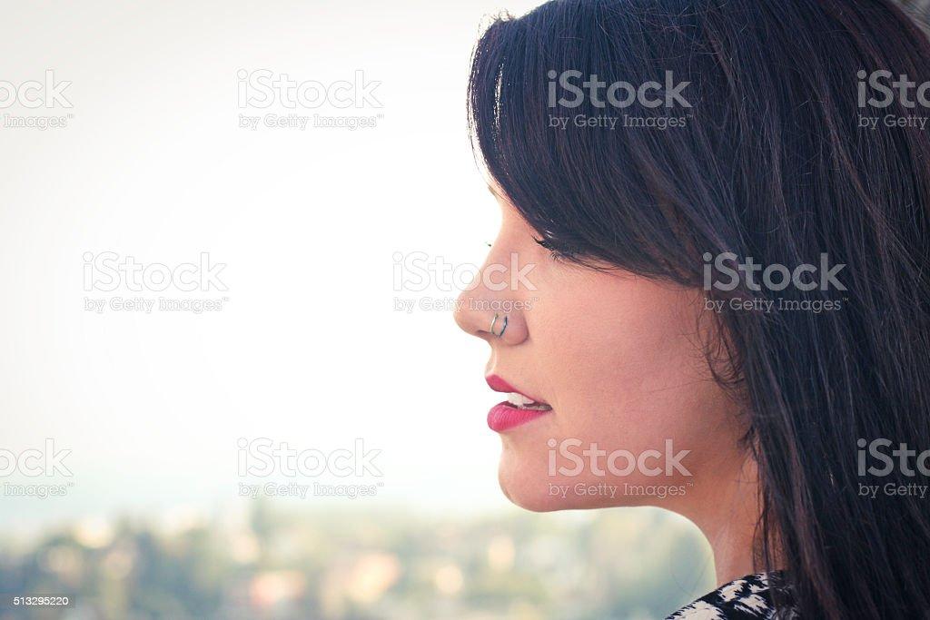 brunette profile stock photo