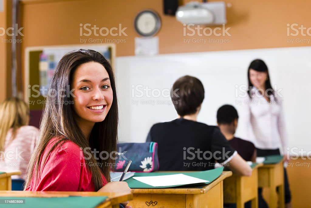 Brunette Student look at camera royalty-free stock photo