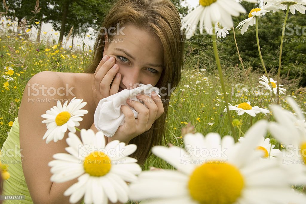 brunette suffering from hay fever royalty-free stock photo