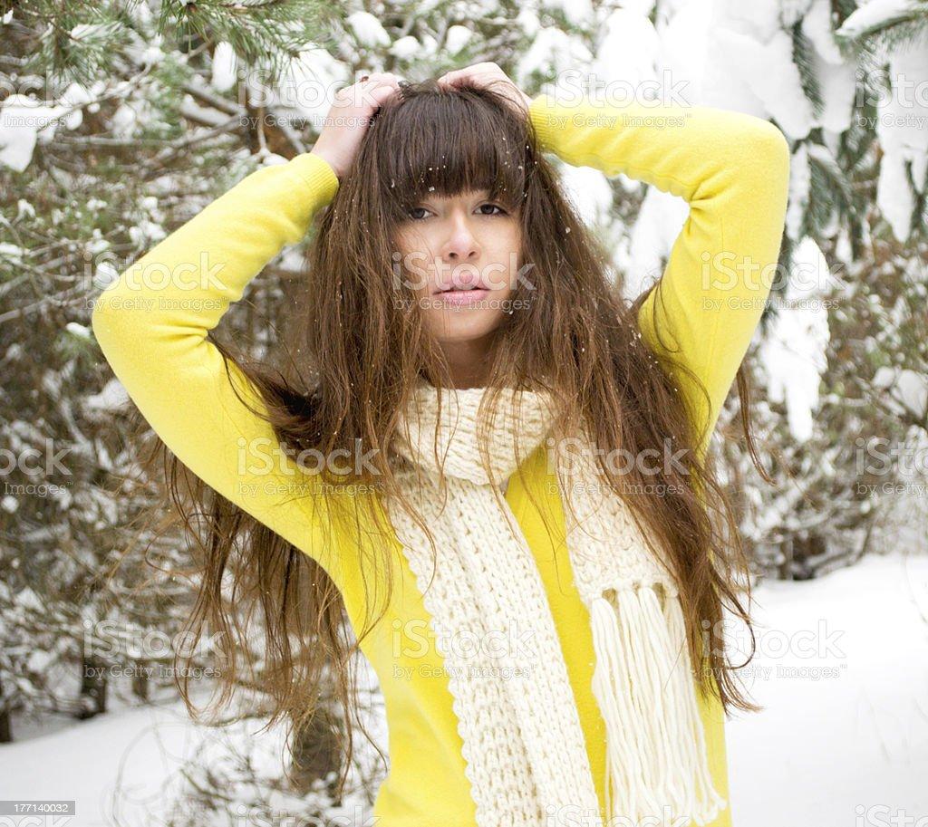Brunette teenage girl stock photo